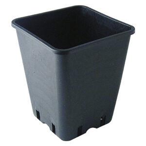 6 L sort firkantet plast pot 18 x 18 x 23 cm
