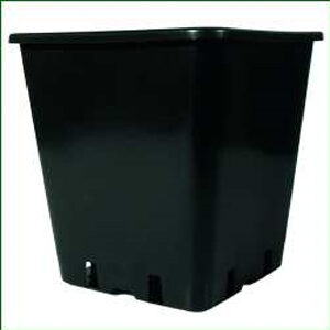 11 L sort firkantet plast pot 25 x 25 x 26 cm