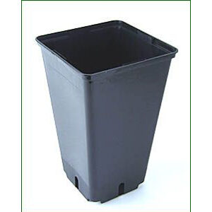 2 L sort firkantet plast pot 12 x 12 x 20 cm