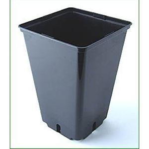 4 L sort firkantet plast pot 16 x 16 x 23,5 cm