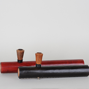 Læder Tjubang 38cm, m. bruyerehoved